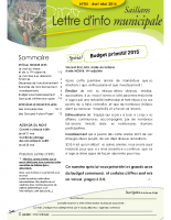Lettre d'info n° 5 – avril-mai 2015 – spécial Budget