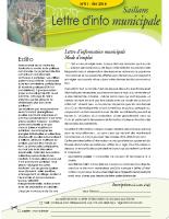 Lettre d'information municipale n° 1 – été 2014