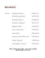 Liste des restaurants
